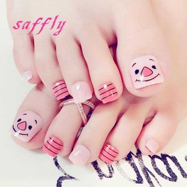 High quality Fake nail patches Summer stripe toenails 24pcs/set ...