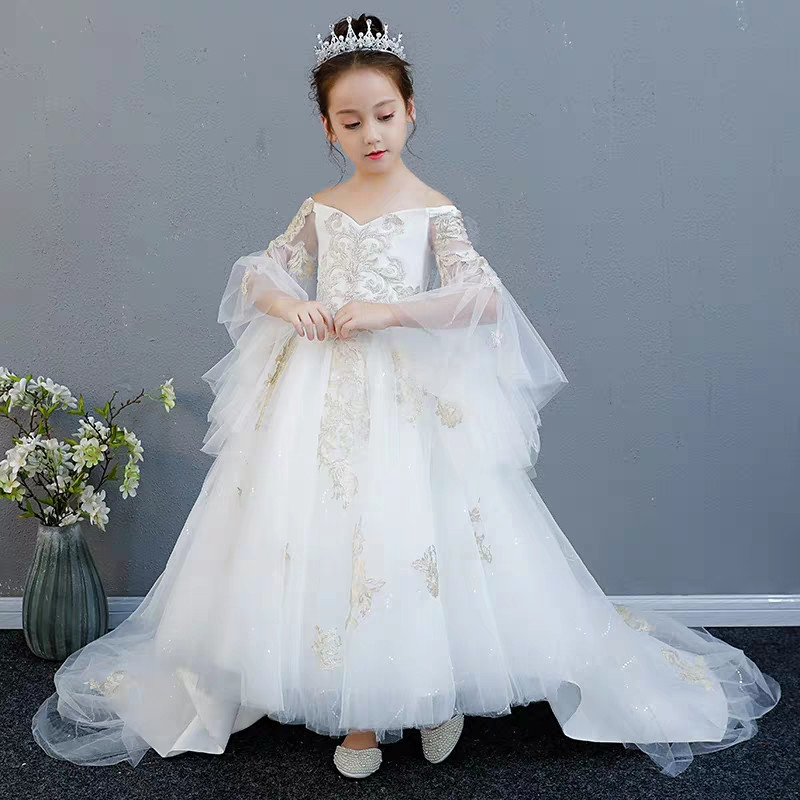 2019 New Style Children Girls Luxury Shoulderless Evening Party Birthday Long Tail Lace Princess Dress Kids Piano Pageant Dress