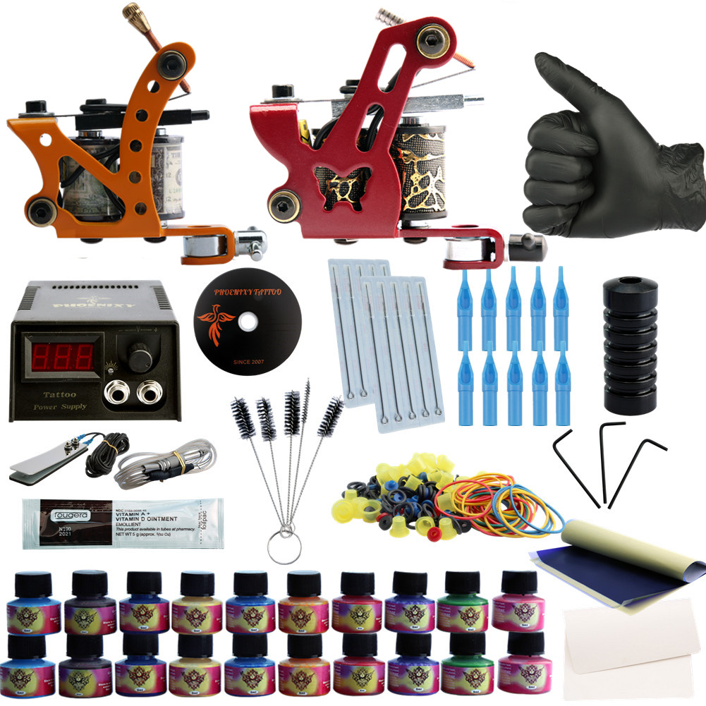 Phoenxiy Pro Complete Tattoo Kit 2 Tattoo Machines Gun Set 20 Colors Tattoo Ink Black Power Supply Permanent Makeup Tattoo Kits ophir 380pcs pro complete tattoo kit 3 tattoo machines guns 40 colors ink pigment tattoo supply power needles nozzles set ta005