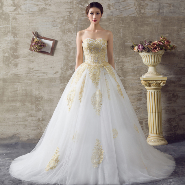 2017 white and gold wedding dresses ball gown sweetheart for White and gold lace wedding dress