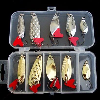 10 pcs com caixa Isca Colher Isca de Pesca de Metal Colher Isca Baixo iscas Spinner Isca Gancho de aço carbono Sea Fishing Lure 2.5g 5g 8g