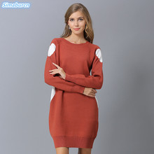 New Arrivals High Quality Autumn Winter Women Sweaters Pullover Long Style Black Green Blue Loose Dress Plus Size