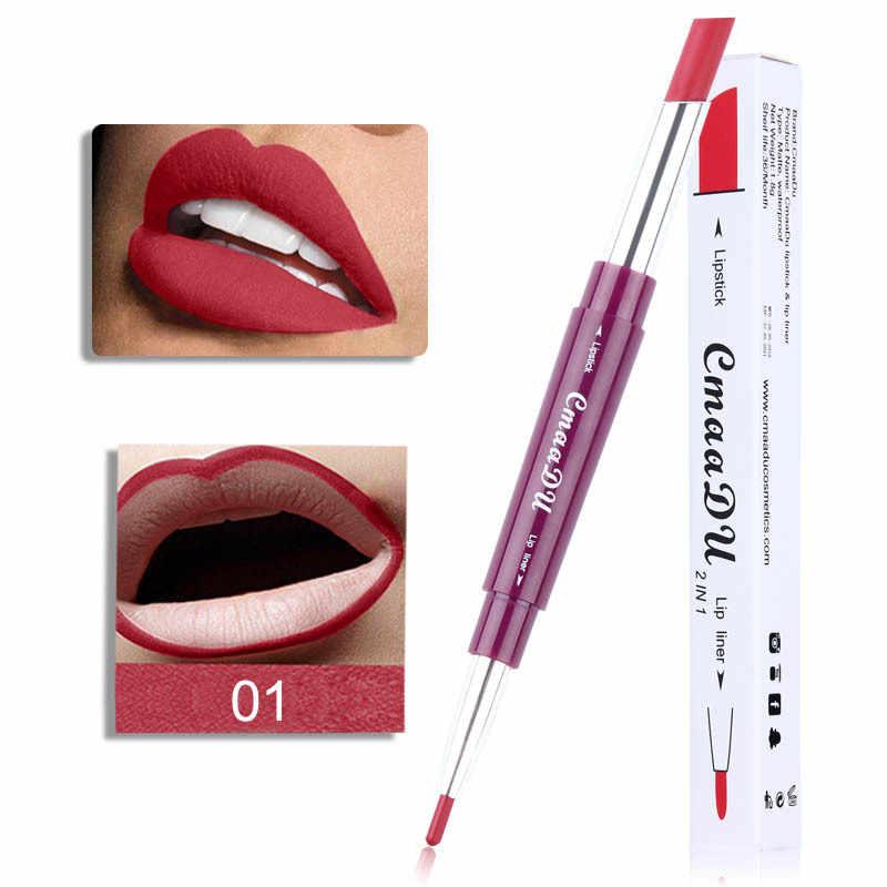 חדש רב-פונקציה שפתיים קו עט כפול סוף שפתון עמיד למים לטווח ארוך לחות