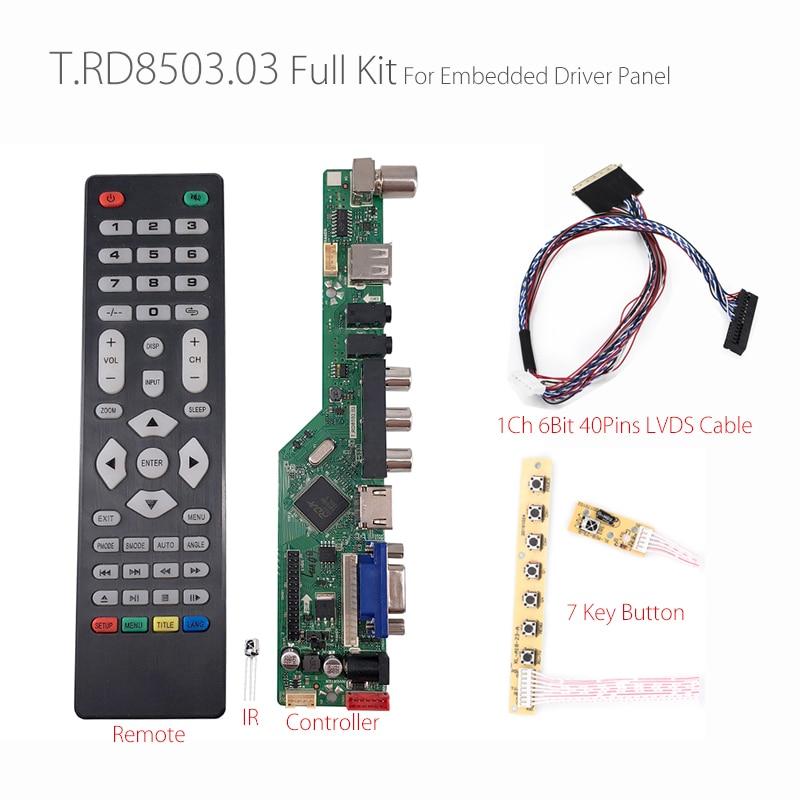SKR.03 8501 Universal LCD LED TV Controller Driver Board TV/PC/VGA/HDMI/USB+IR+7 Key button+1ch 6-Bit 40Pins LVDS Russian tech 2 scanner for sale