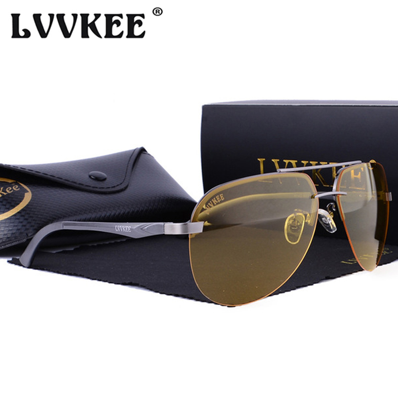 LVVKEE Original Brand Aluminum Magnesium HD Polarized Sunglasses Men Driver Mirror Sun glasses For Women Night Vision Goggles