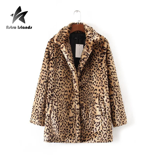 Women`s Luxury Fur Leopard Coat 2016 New Winter Faux Fur Middle Long Jacket Women`s Turn Down Collar Casual Suits Coat  AR321