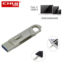CHYI Type C USB 3.0 Flash Drive 64GB Waterproof Pen Drive 32GB OTG USB Memory Stick 16GB PC Tablet Smartphone Gadget Double Plug
