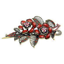Fashion Vintage Jewelry Charm Rose Flowers With Leaves Alligator Clip Hair Clip- Red