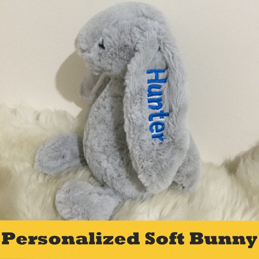 Personalized Monogrammed Soft Animal With The Name Letter Embroidered On Ear Stuffed Animal Teddy Toy Special Gift For Kids ...