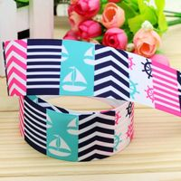 1.5'' Free shipping navy anchor printed grosgrain ribbon hairbow headwear party decoration diy wholesale OEM 38mm P5261