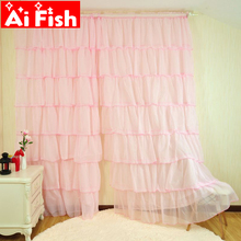 European Sweet Lotus Leaf White Green Yellow and Pink Curtains For Princess Room Tulle Panels Curtains