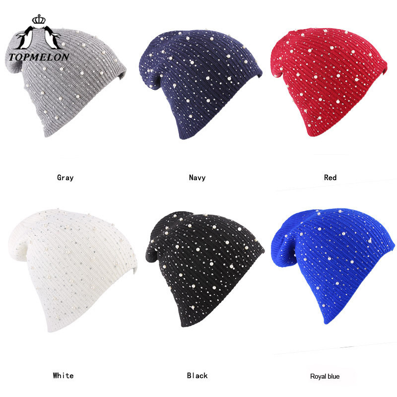 TOPMELON Beading Beanie New Fashion Winter Cap for Women Girls Luxury Pearl Knitting Caps Female Skullies & Beanies