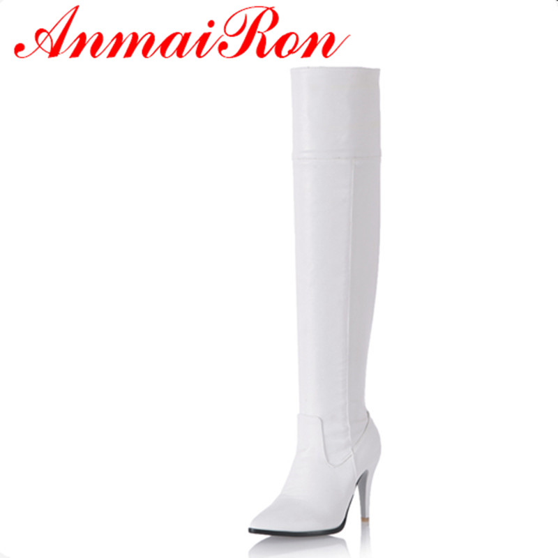 цены ANMAIRON Over-the-knee Boots Shoes Woman White Shoes Size 34-43 Zippers Long Boots Winter Platform Shoes High Heels  Boots