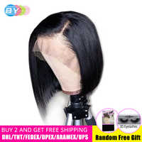 BY Straight Hair 360 Brazilian Lace Frontal Bob Human Hair Wigs With Baby Hair Lace Front Wig Wig Pre Plucked Bleached Knots