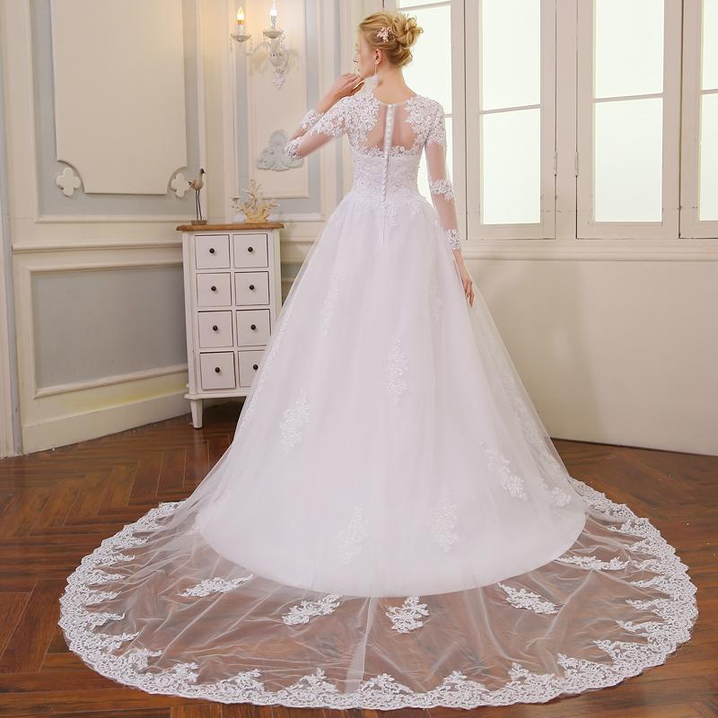 Wedding Dress Vintage Bohemian Lace Long Sleeve Ball Gown Wedding Dresses 2017 Luxury Pearls White Bridal Dress Vestido De Noiva 2