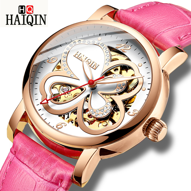 HAIQIN Skeleton Women Mechanical Watch Luxury Brand Ladies Leather Dress Watch Waterproof Female Automatic Clock Montre