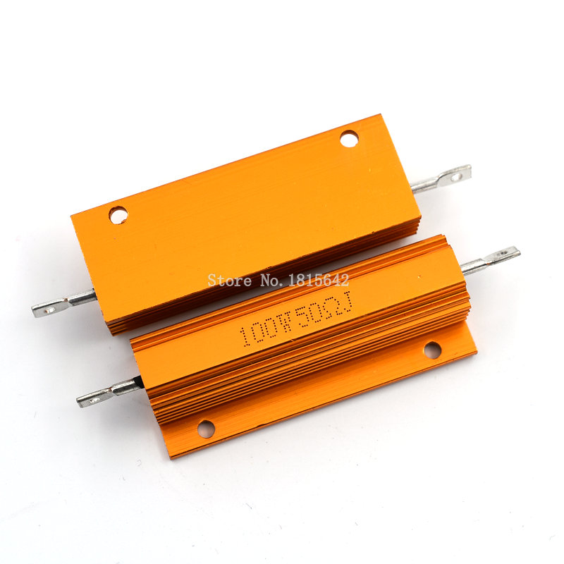 RX24 100W 50R 50RJ Metal Shell Aluminium Gold Resistor High Power Heatsink Resistance Golden Heat Sink Resistor 100 Watt 50 Ohm