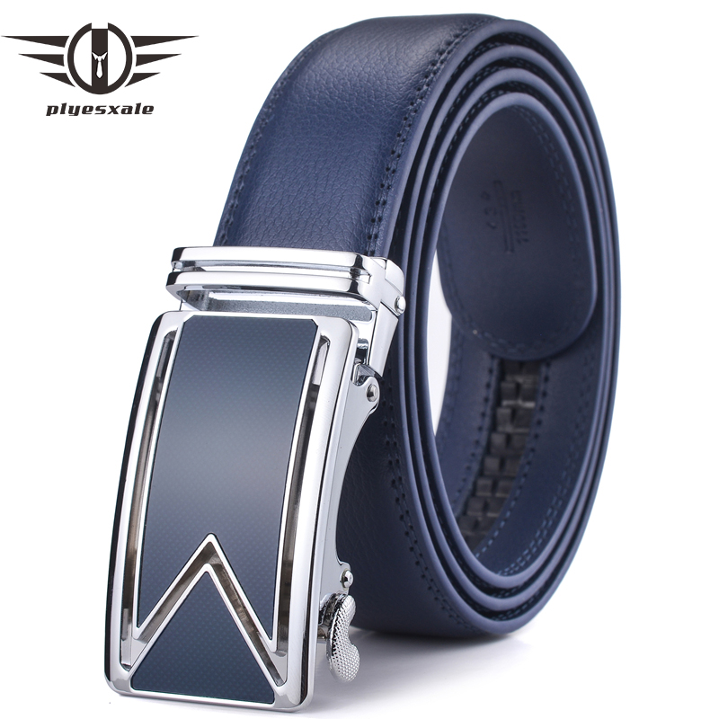 Plyesxale Men   Belt   2018 Luxury Brand Dress   Belts   For Men High Quality Mens   Belt   For Jeans Brown Black Blue Automatic Cinto G38