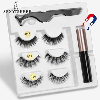 3 Pairs Magnetic Eyelashs set  Magnet Liquid Eyeliner& Magnetic Lashes & Tweezer Set Waterproof Long Lasting Eyelash Extension