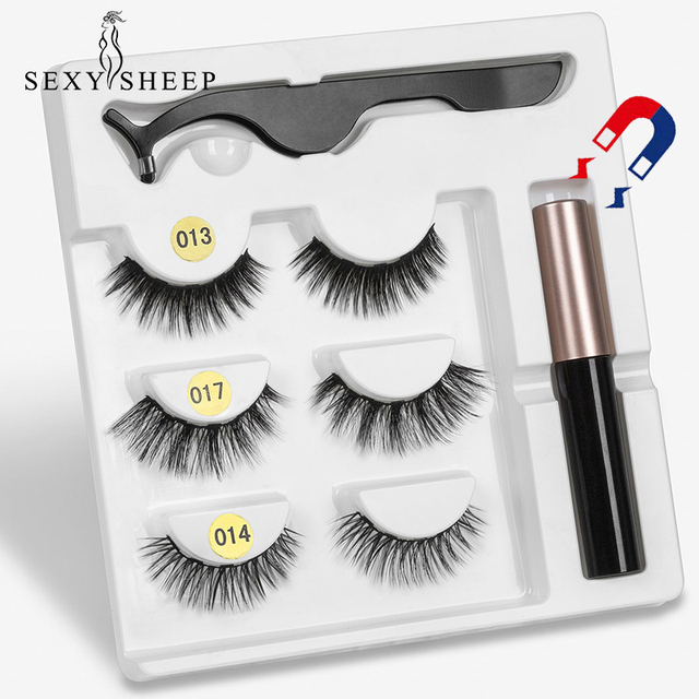 3 Pairs Magnetic Eyelashs set  Magnet Liquid Eyeliner& Magnetic Lashes & Tweezer Set Waterproof Long Lasting Eyelash Extension
