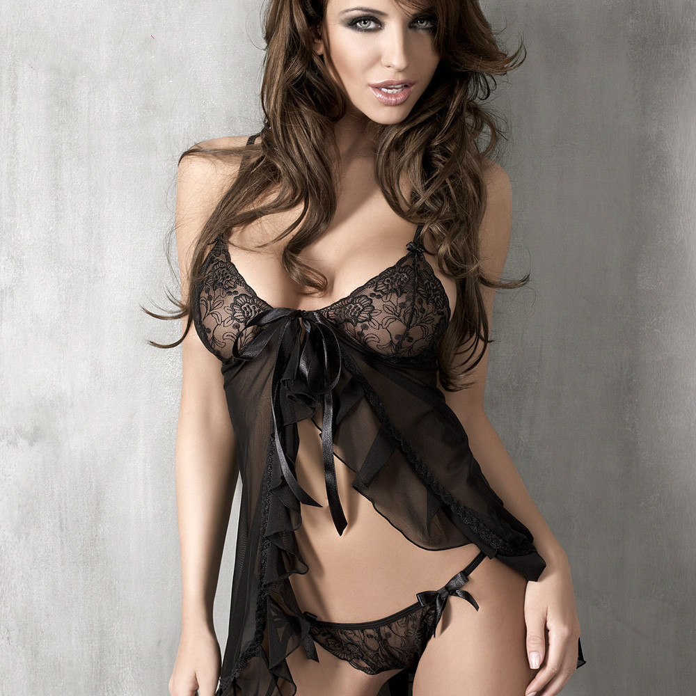 APHRODISIA Erotic Lingerie Lace Babydolls & Chemises Sexy Pajamas Suit Exotic Apparel Black