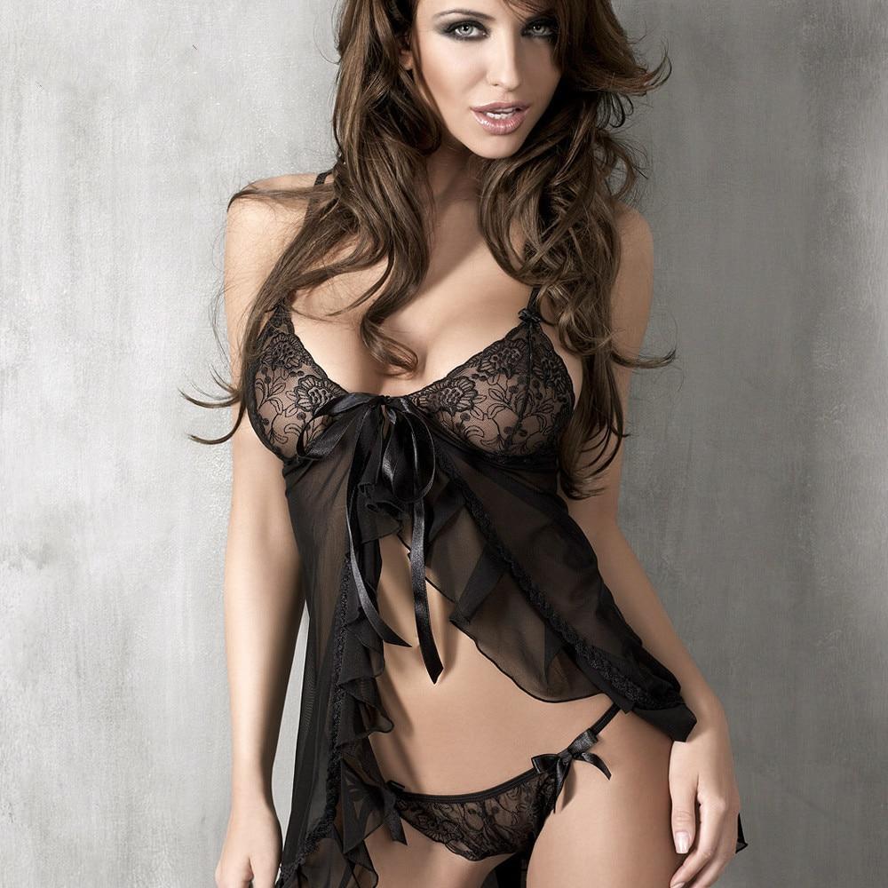 APHRODISIA Erotic Lingerie Lace Babydolls & Chemises Sexy Pajamas Suit Exotic Apparel Black