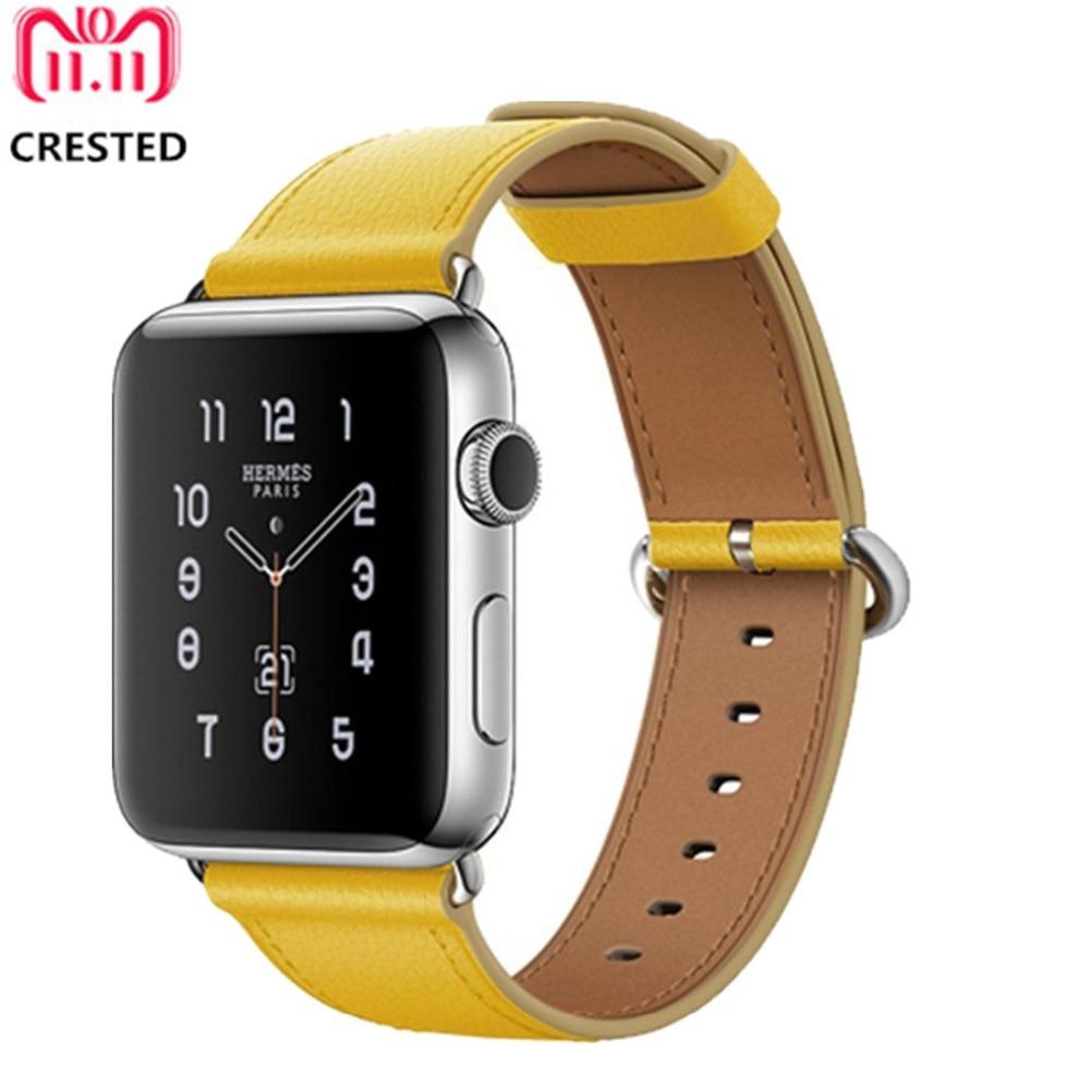 все цены на CRESTED Leather strap For Apple Watch band 42mm 44mm correa iwatch series 4/3/2/1 38mm/40mm Classic Buckle wrist bracelet belt онлайн