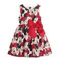 Envío libre 2015 Nuevo vestido ocasional de la muchacha de la historieta de Minnie vestido para las niñas de punto de impresión niños bebé niño vestidos para la navidad infantil