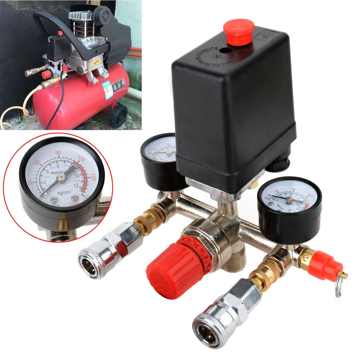 1 pc Compressor de Ar Pressão Interruptor Da Válvula Manifold Calibres Regulador 90-120PSI 82x82x52mm