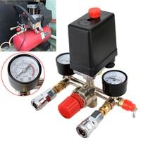 1pc Air Compressor Pressure Valve Switch Manifold Regulator Gauges 90 120PSI 82x82x52mm