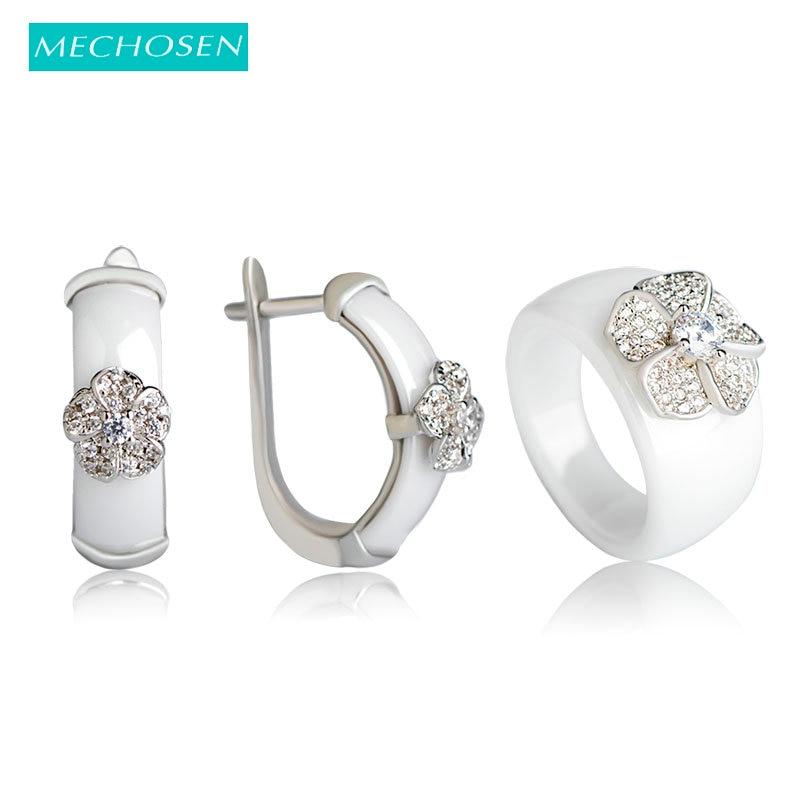 купить MECHOSEN Stunning Black Ceramic Earrings&ring Jewelry Set Luxury Zircon Anel Copper Flower Brincos Keramik Schmuck With Gift Box по цене 1510.9 рублей