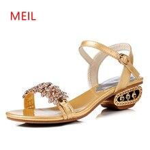 Women Shoes Summer 2018 Ladies Rhinestone Heels Sandals Fashion Gladiator Sandalias Elegantes