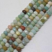 Mini. ordre est $7! 5x8mm Facettes Naturel Multicolore Amazonite Ovale Rondelle Lâche de Perles 15''