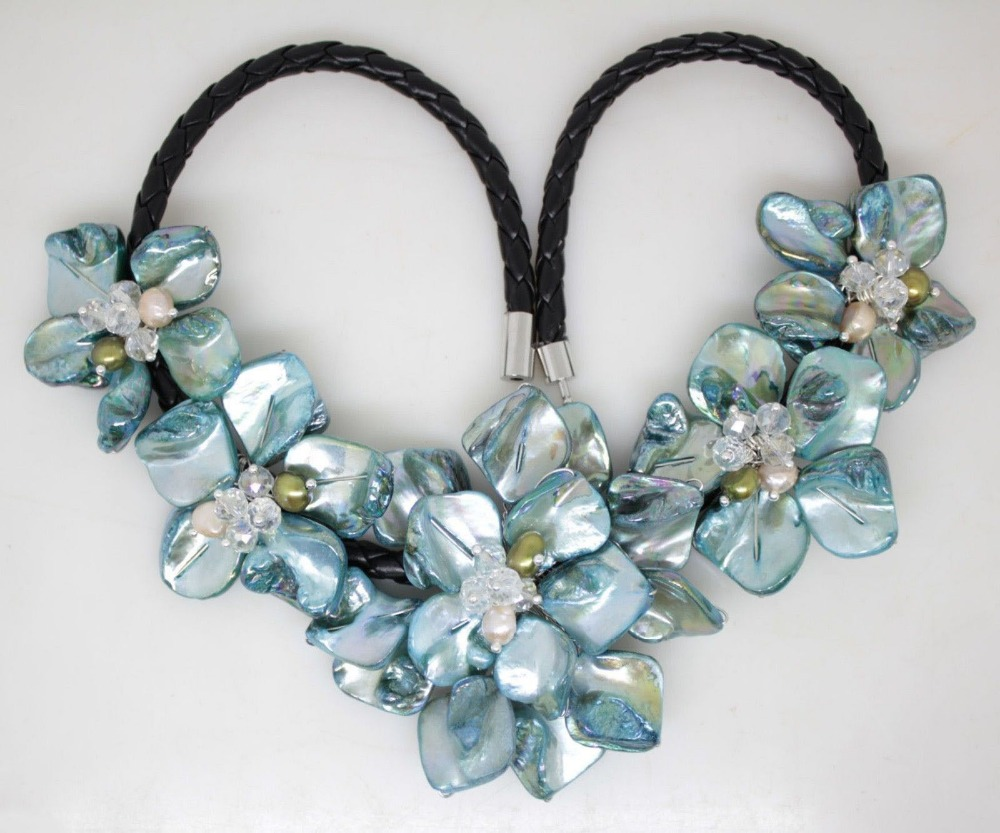 NEW blue mother of pearl shell handmade pearl crystal ...
