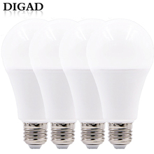 DIGAD 4pcs LED Bulb Lamp E14 E27 3W 5W 7W 9W 12W 15W 18W 220V LED Lampada Ampoule Bombilla High Brightness LED Light SMD2835