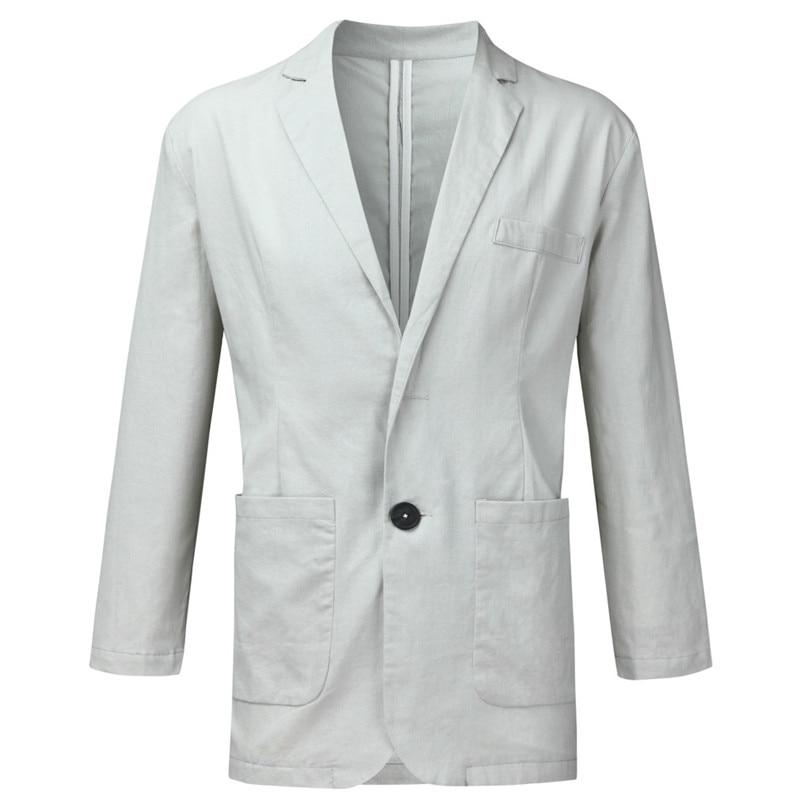 New 2019 Summer Men Slim Fit Linen Blend Casual Blazer Pocket Solid Long Sleeve Suits Blazer Jacket Outwear #E09 (19)