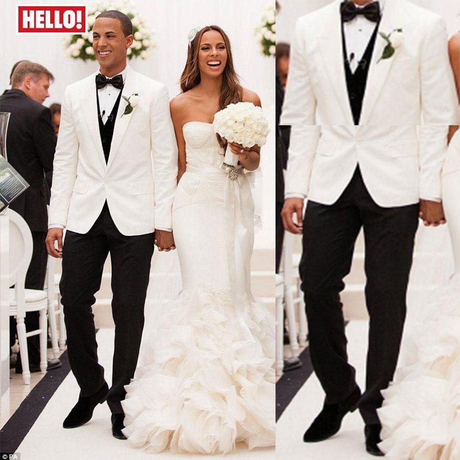 Ivory Peak Lapel Mens Tuxedos Wedding Suit For Men With Pants ...