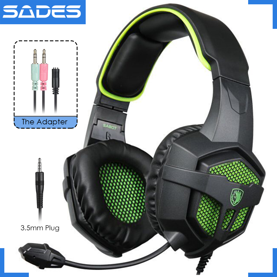 Original SADES SA-807 PC Gaming Headset With Mic For Player, Samsung Phone/Sony PS4/Xbox One Big Game Headphones each g8200 gaming headphone 7 1 surround usb vibration game headset headband earphone with mic led light for fone pc gamer ps4