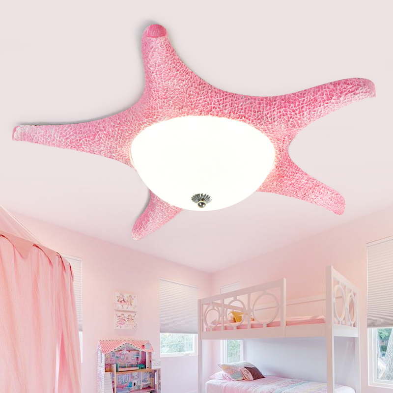 Pink Led Starfish lamp Luminaria ceiling fixtures for children Kids bedroom led glass ceiling lamps dressing room surface light