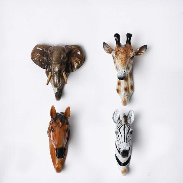 Animal Head Resin Hook Creative Retro Coffee Wall Hanging Deer Coat Hanger