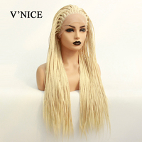 V'NICE Blonde Synthetic Lace Front Wig For Black Women African American Braided Artificial Hair Braids Wigs Natural Hairline