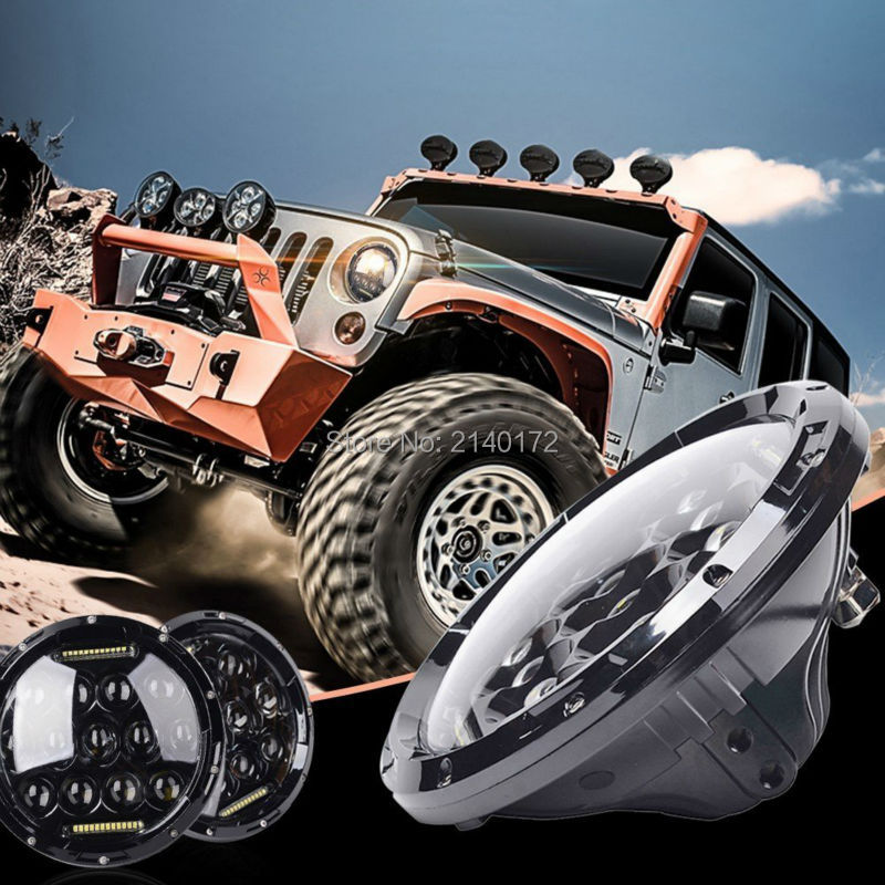 H4 LED Headlight 7INCH 75W Car Motor High/Low Beam with DRL for Jeep Wrangler JK TJ Harley Davidson 1pcs 7 80w headlamp led headlight with drl for jeep wrangler jk tj fj harley off road lights high low beam new free shipping