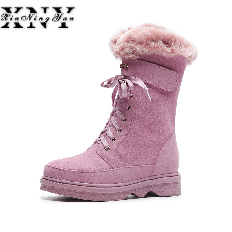 XIUNINGYAN Fashion Women Winter Warm Wool +Rabbitr Fur Snow Boots Genuine Leather Shoes Woman Flats Heels Ankle Boots Size 34-40 все цены