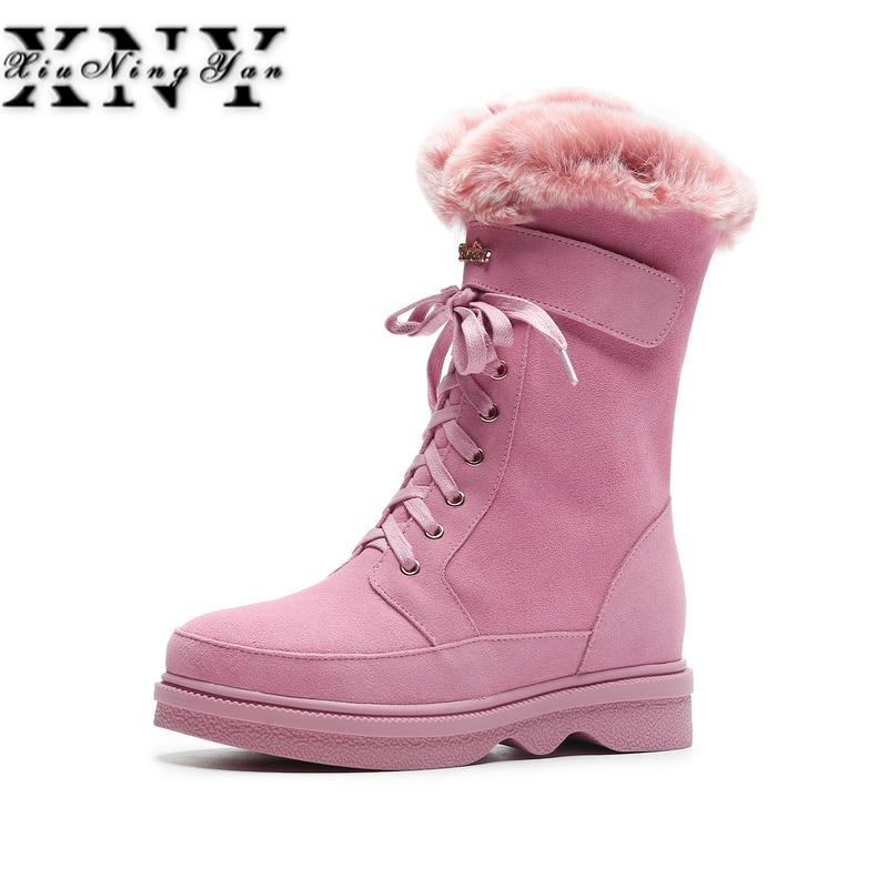 все цены на XIUNINGYAN Fashion Women Winter Warm Wool +Rabbitr Fur Snow Boots Genuine Leather Shoes Woman Flats Heels Ankle Boots Size 34-40 онлайн