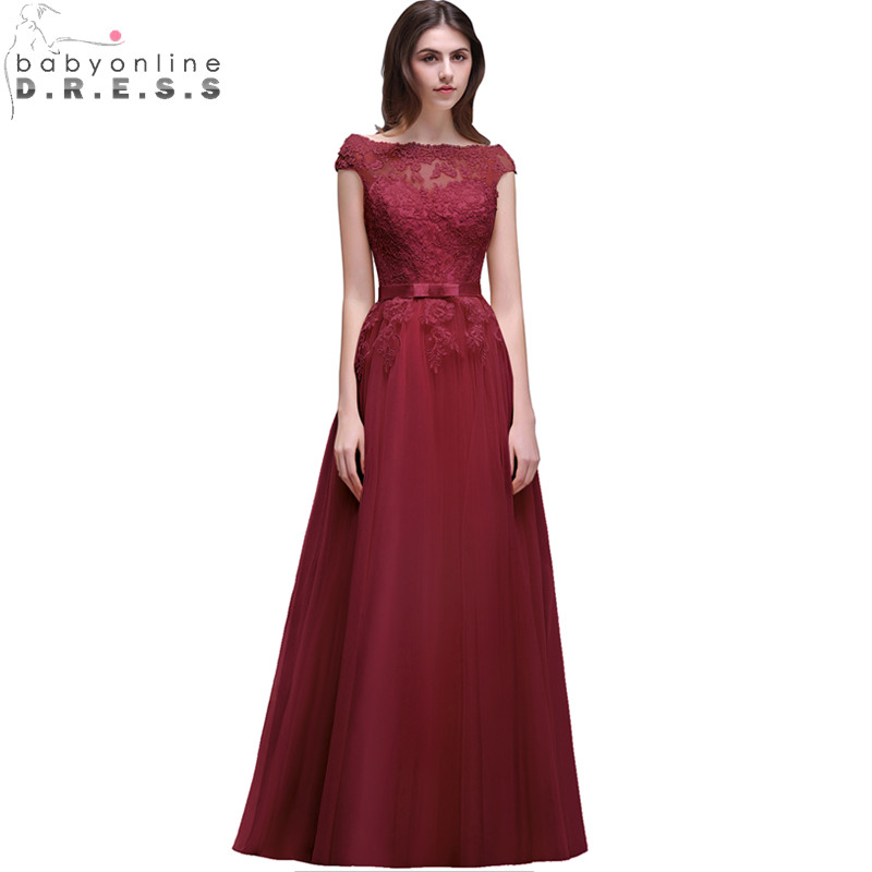 Vestido Madrinha Elegant Burgundy Lace Bridesmaid Dresses Long Chiffon Wedding Party Dress Robe Demoiselle D honneur