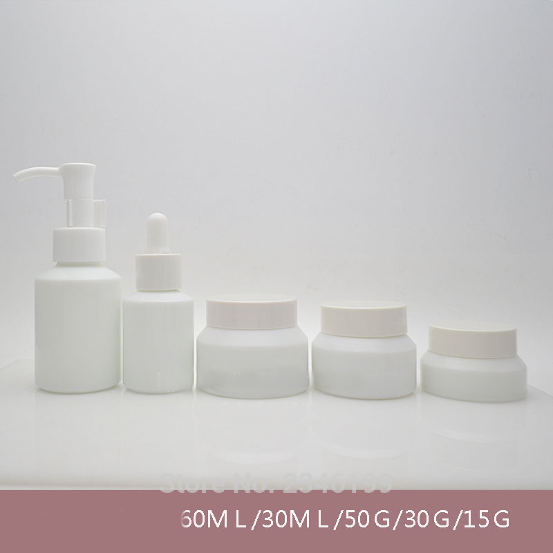 60ML 30ML 50G 30G 15G 10pcs/lot Empty Lotion Pump Bottle, White Cosmetic Dropper Bottle, Essential Oil Container,Glass Cream Jar high quality pearl white acrylic cream jar gold cap empty cosmetic container jar lotion pump bottle 30g 50g 30ml 50ml 120ml