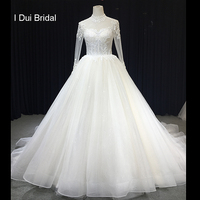 Sheer Long Sleeve High Neck Wedding Dress Ball Gown Delicate Beaded Bridal Gown