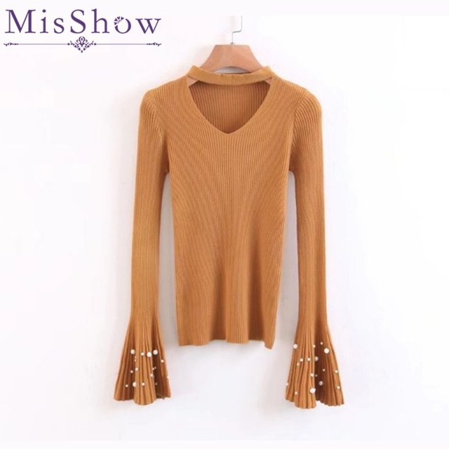V Neck Hollow Out Neck Skinny Flare Sleeve Sweater Women Knitted Basic Winter Ladies Sweaters Knitted Pullover Feminino Coat