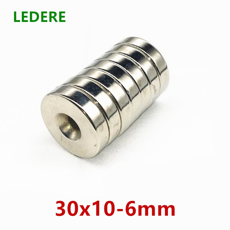 LEDERE 1Pcs 30 x 10 mm Hole 6 mm Super Strong Ring Loop Countersunk Magnet Rare Earth Neo Neodymium Magnets Cylinder 6mm 30*10 new 5pcs 15 mm x 5 mm strong ring magnets countersunk hole 5 mm rare earth neodymium circular magnet neodymium magnet
