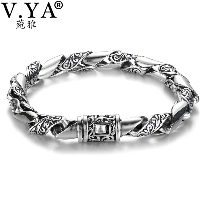 V.YA 8mm 925 Sterling Silver Men Bracelet Bangle Personalized Roll Grass Pattern Thai Silver Bracelets Male Mens Jewelry personalized bracelet 24cm silver 925 jewelry mens bracelets 2018